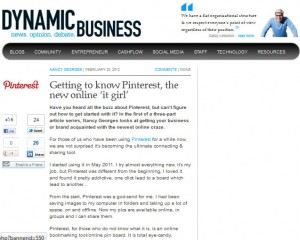 Nancy Georges: Dynamic Business: Getting to know Pinterest, the new online 'it girl'