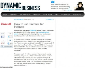 """Nancy Georges: Dynamic Business """"How to use Pinterest for business"""""""