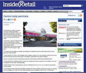 Inside Retailing article on Nancy Georges' seminars @ St Ives Shopping Village