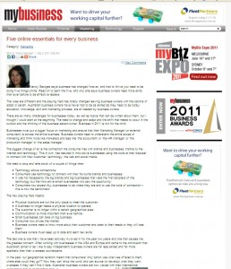 """My Business Article """"Five Essential Online Tools""""  by Nancy Georges"""