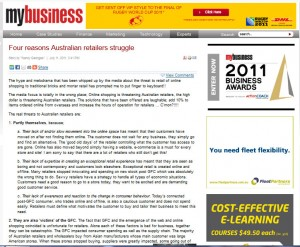 """My Business article: """"Four Reasons Australian Retailers Struggle"""" by Nancy Georges"""