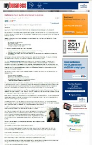 """My Business Article, Retailers Must Evolve To Survive"""" by Nancy Georges"""