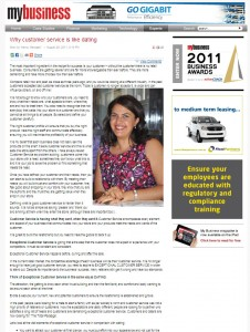 """Nancy Georges """"Customer Service is Like Dating"""" My Business Magazine 29 August 2011"""